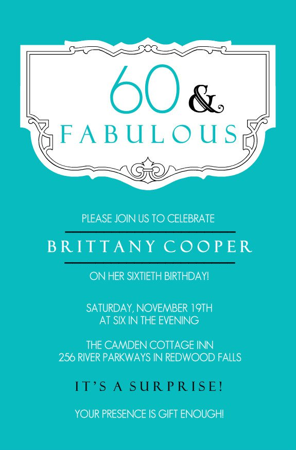 60th Birthday Invitation Card Designs