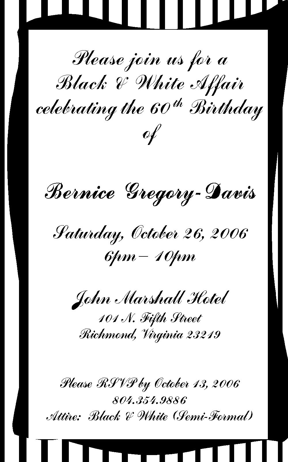60th Birthday Invitation Wording Examples