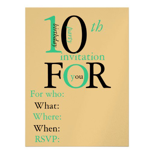 Birthday Party Invitations - Birthday invitation wording for 10 year old