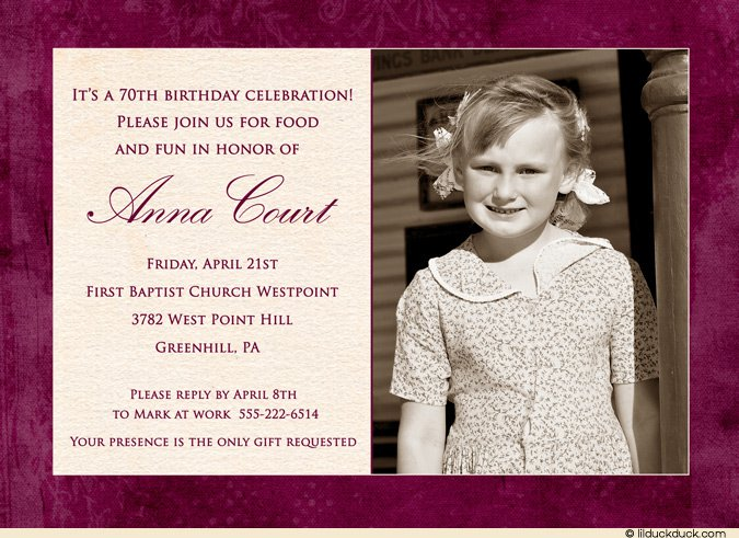 70th Birthday Invitation Ideas
