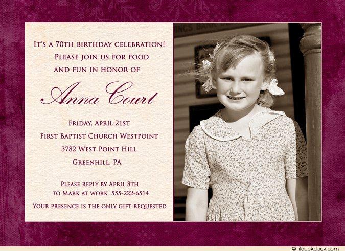 70th Birthday Invitation Ideas