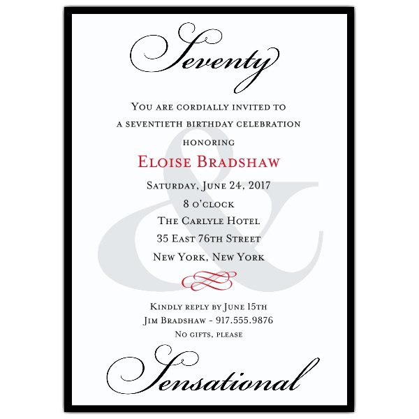 70th Birthday Invitation Wording Samples