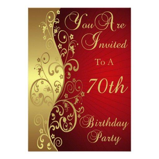 70th Birthday Invitations Female