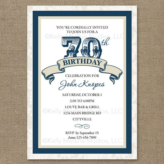 70th Birthday Invitations Free Printable