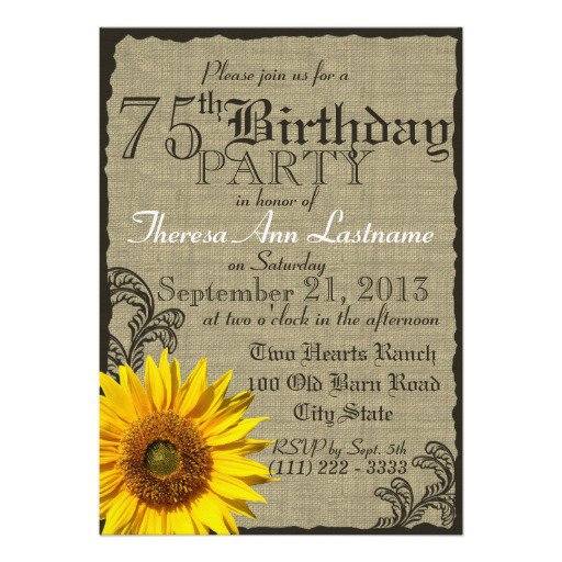 75 Birthday Invitations Wording