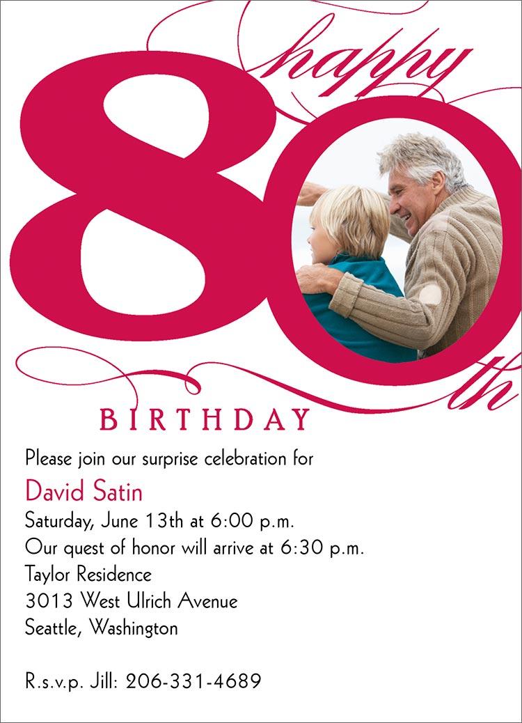 80th Birthday Invitation Wording Ideas