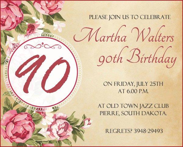 90th Birthday Invitations Free Printable