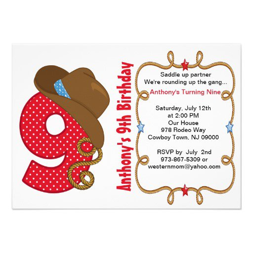 9th Birthday Invitation Cards For Boy