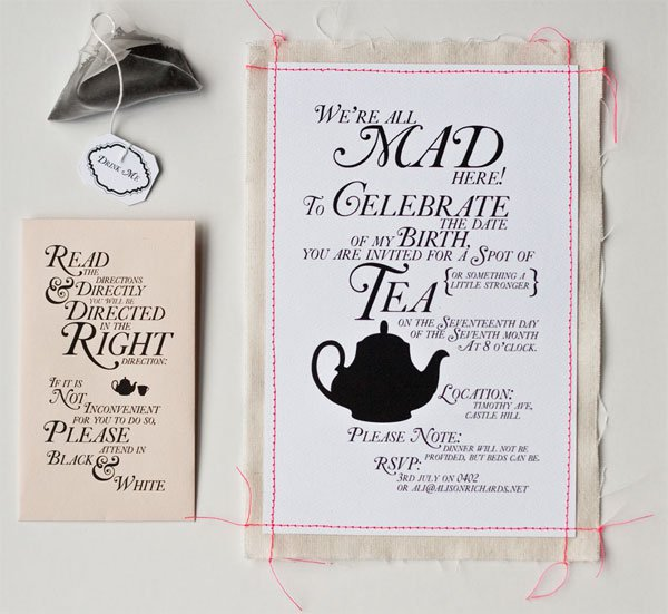 Alice In Wonderland Invitation Wording