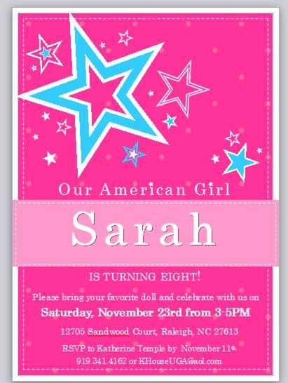 American Girl Birthday Invitation Ideas
