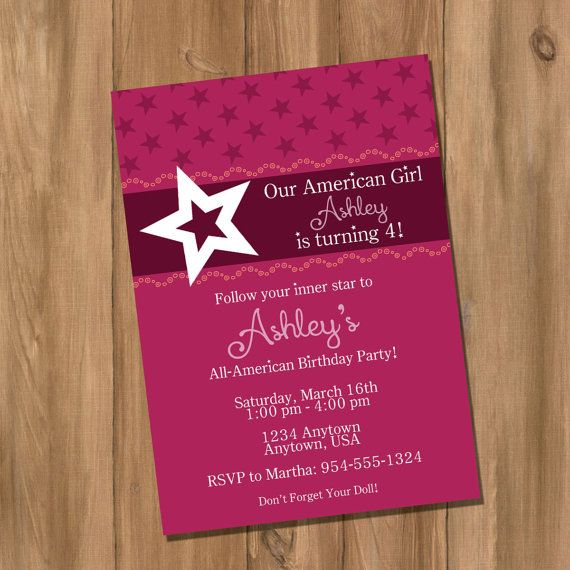 American Girl Invitation Ideas