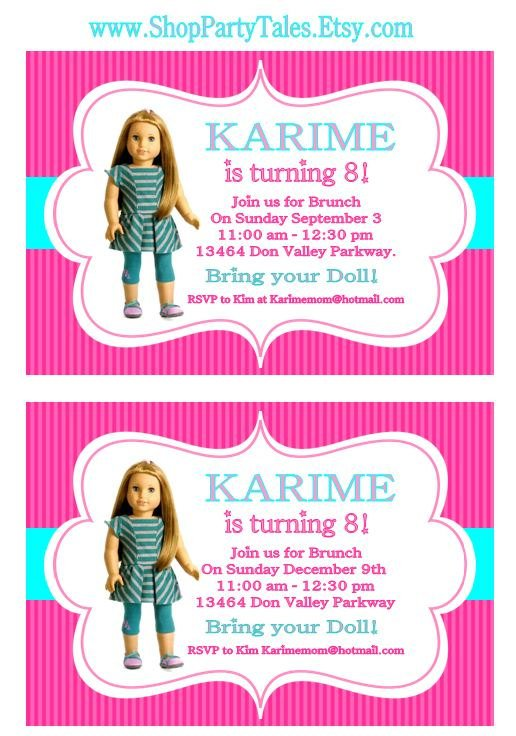 American Girl Invitation Templates