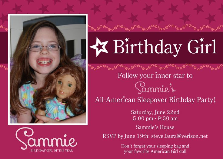 American Girl Party Invitation Ideas