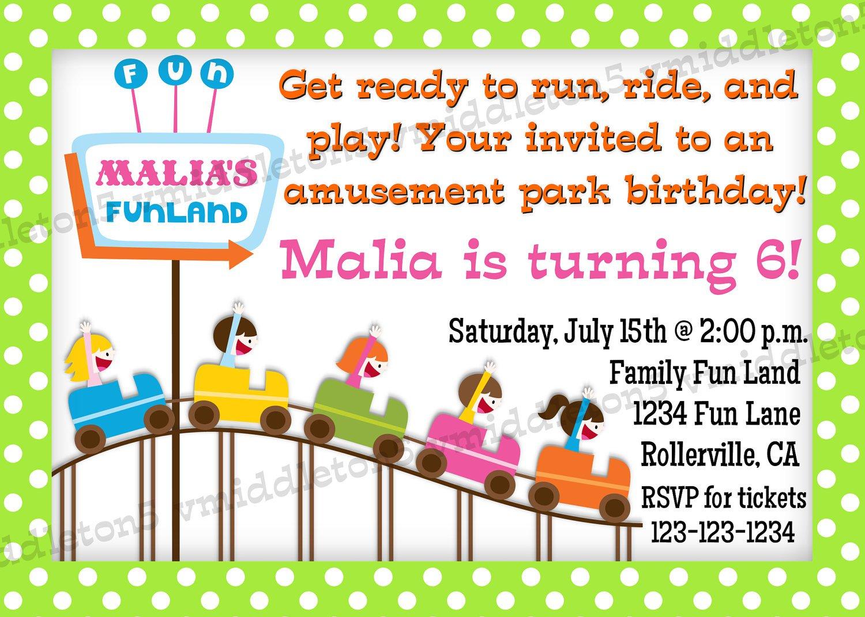 Amusement Park Birthday Invitation Wording