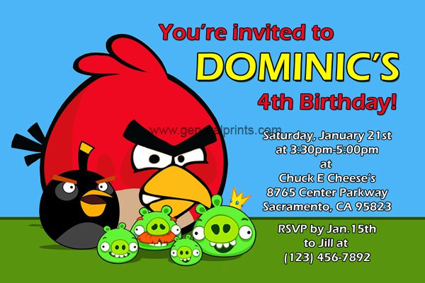 Angry Bird Party Invitations Printable