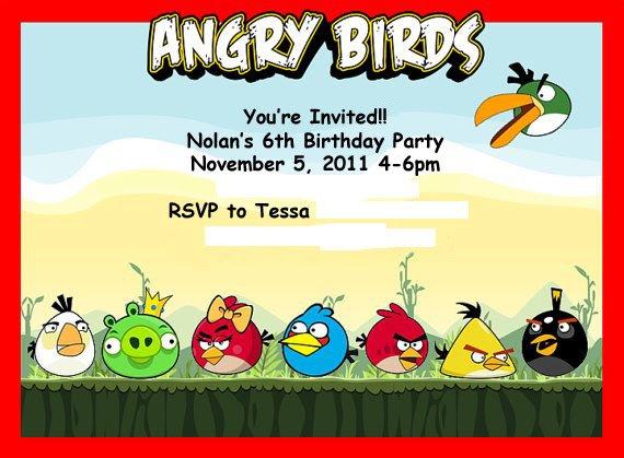 Angry Birds Birthday Invitation Templates