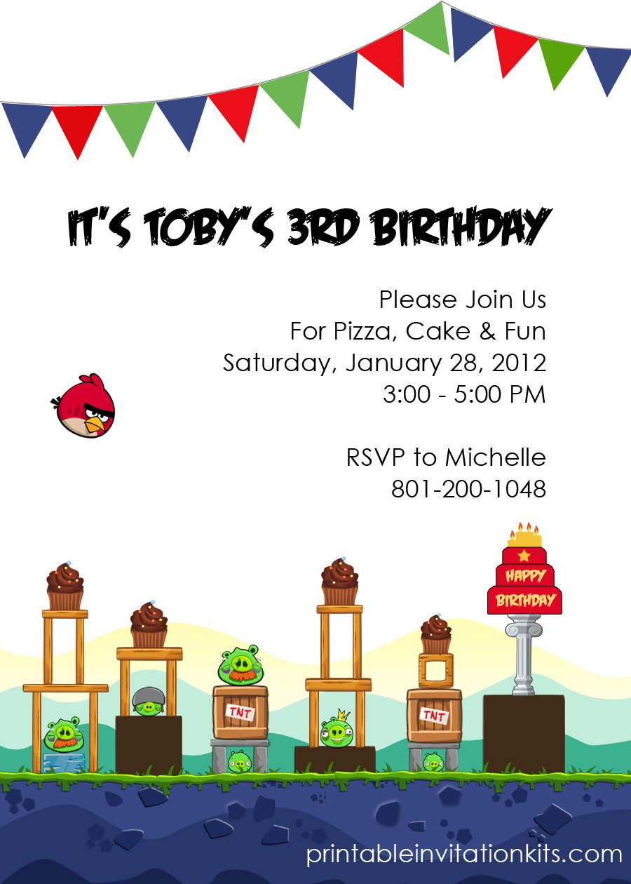 Angry Birds Invitation Paper