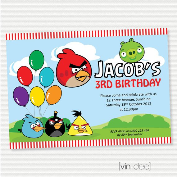 Angry Birds Printable Birthday Invitations