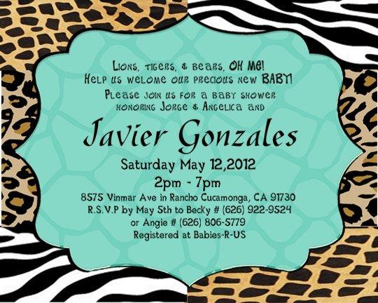 Animal Print Baby Boy Shower Invitations