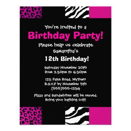 Animal Print Party Invitations Uk