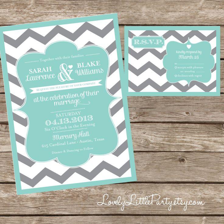 Aqua Chevron Wedding Invitations