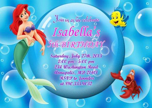 Ariel Little Mermaid Birthday Invitations