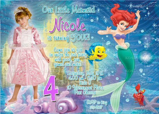 Ariel Little Mermaid Party Invitations