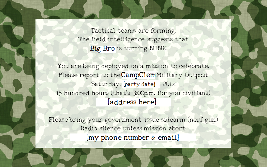 Army Invitations Birthday Party