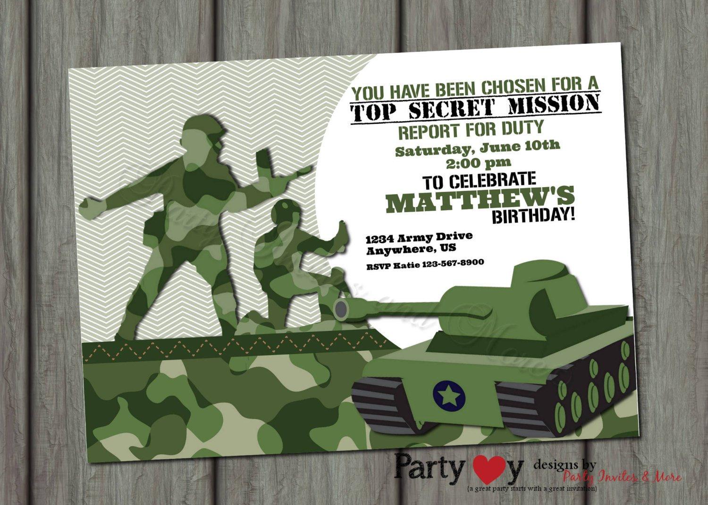 Army Party Invitation Templates
