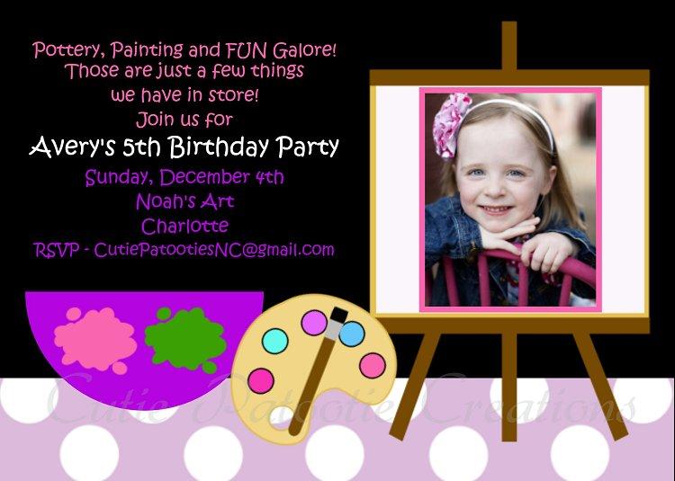 Arts And Crafts Birthday Invitations