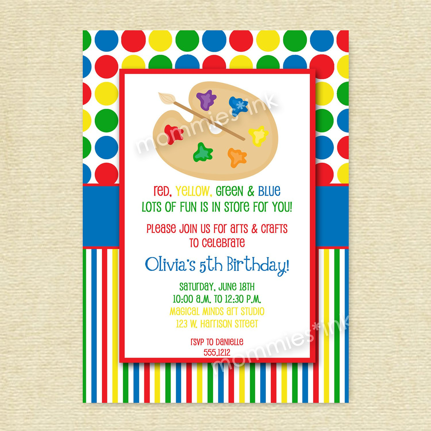 Arts And Crafts Birthday Party Invitation Wording