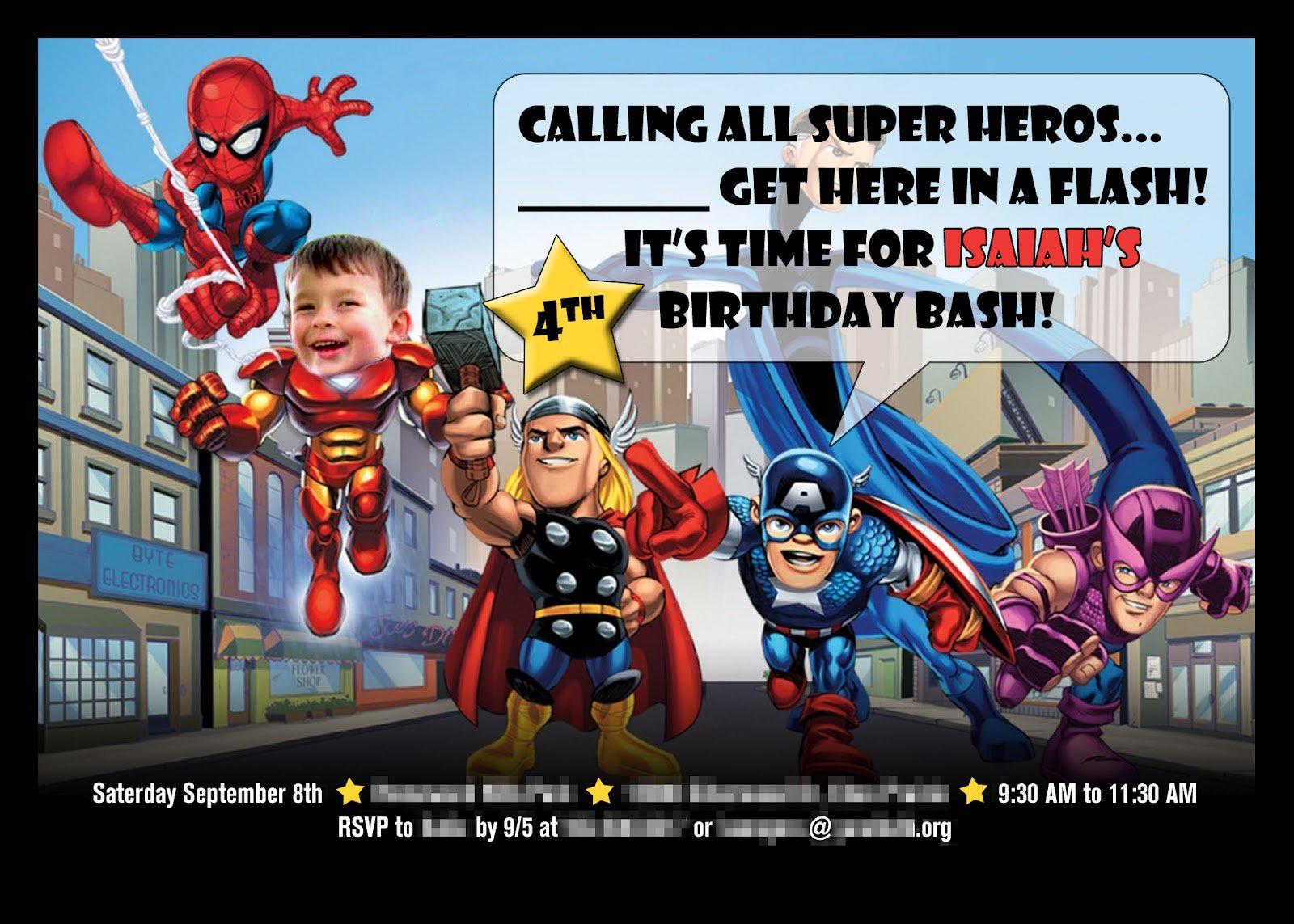 Birthday Invitations - Avengers birthday invitation wording