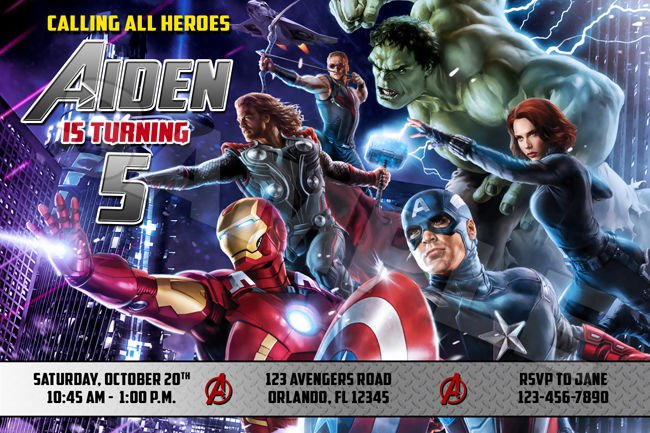 Avengers Birthday Invitations Templates Free