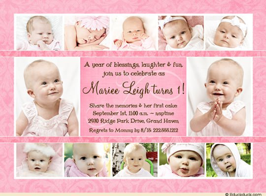Baby Girl 1st Birthday Invitations Wording