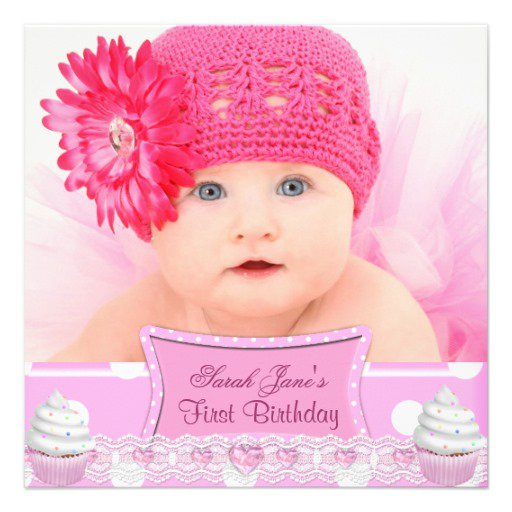 Baby Girl First Birthday Invitations