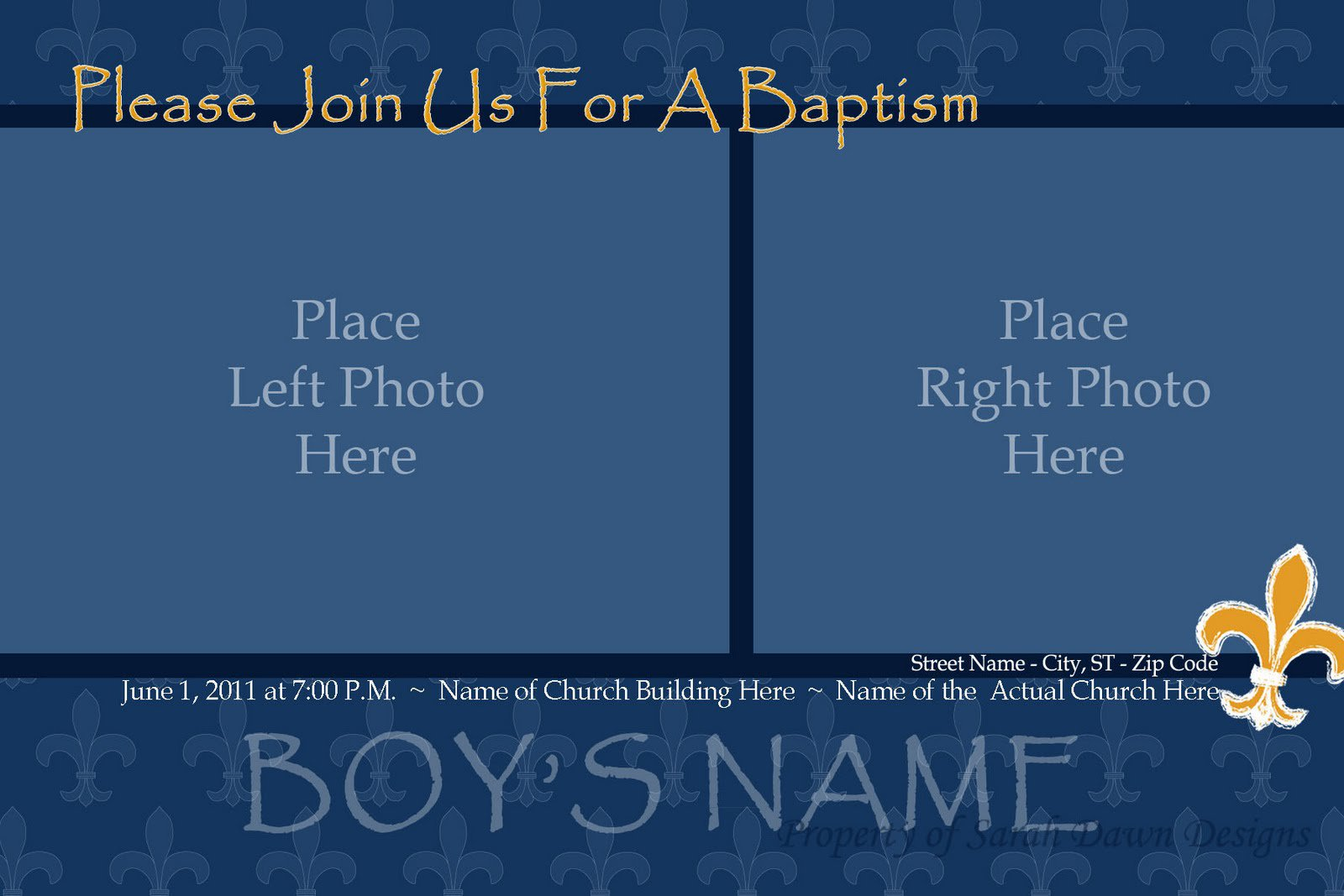 Boy Baptism Blank Invitation Templates