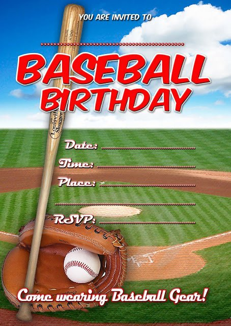 Baseball Birthday Invitation Templates Free