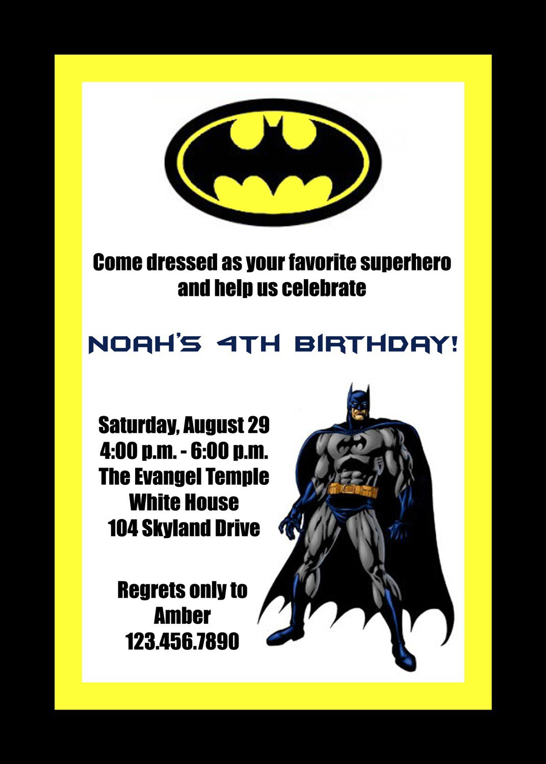 Batman Birthday Invitations Printable