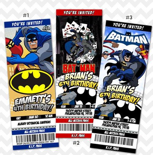 Batman Customized Birthday Invitations