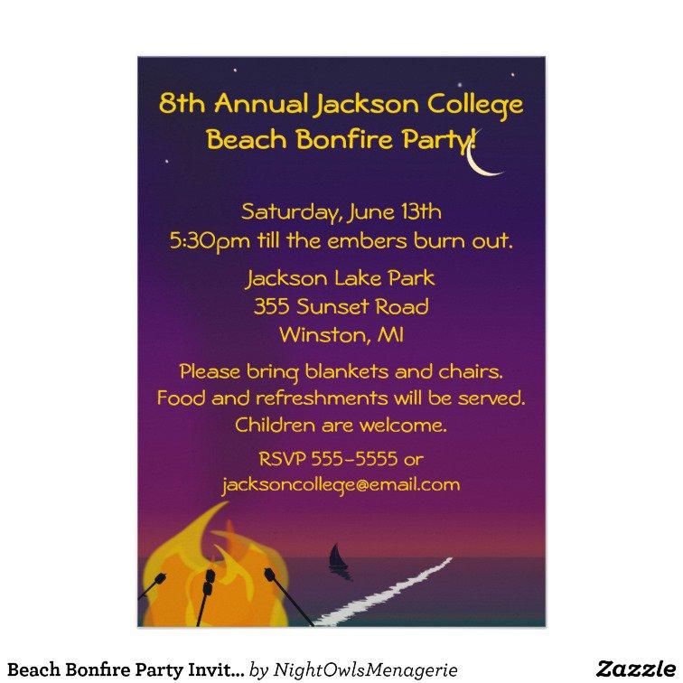 Beach Bonfire Invitation Templates