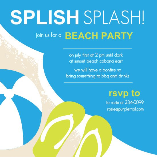 Beach Party Baby Shower Invitations