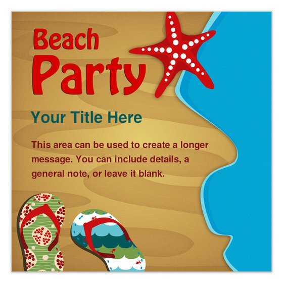 Beach Party Invitation Blank Templates