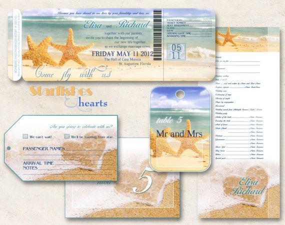 Beach Wedding Blank Invitations