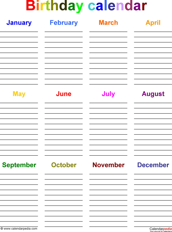Birthday Calendar Template Microsoft Word