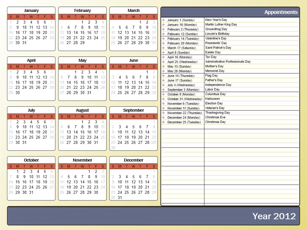 Birthday Calendar Template Word