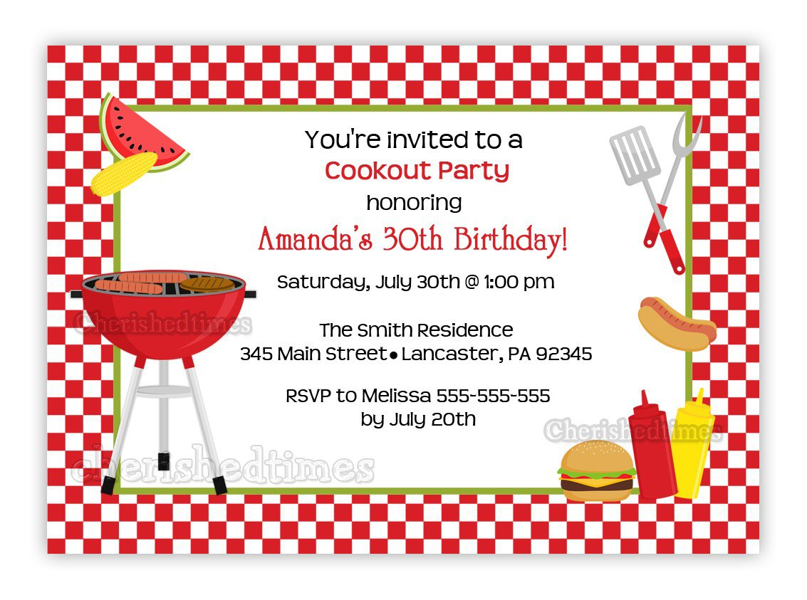 Birthday Cookout Invitations Printable