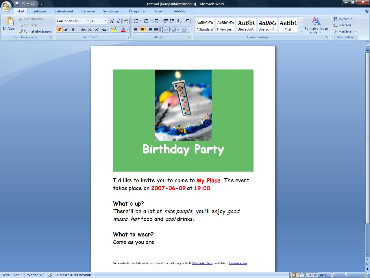 Birthday Invitation Templates Word 2003