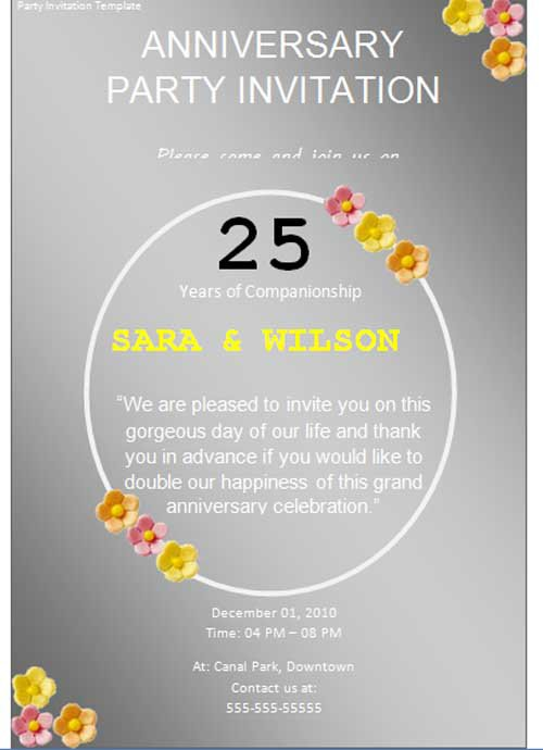 Birthday Party Invitation Templates Free Word