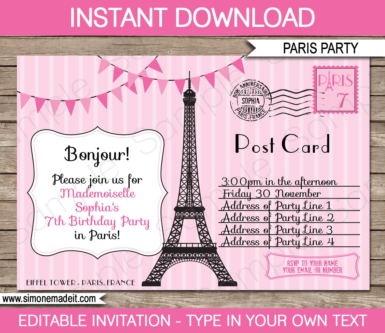 Birthday Party Postcard Invitation Templates