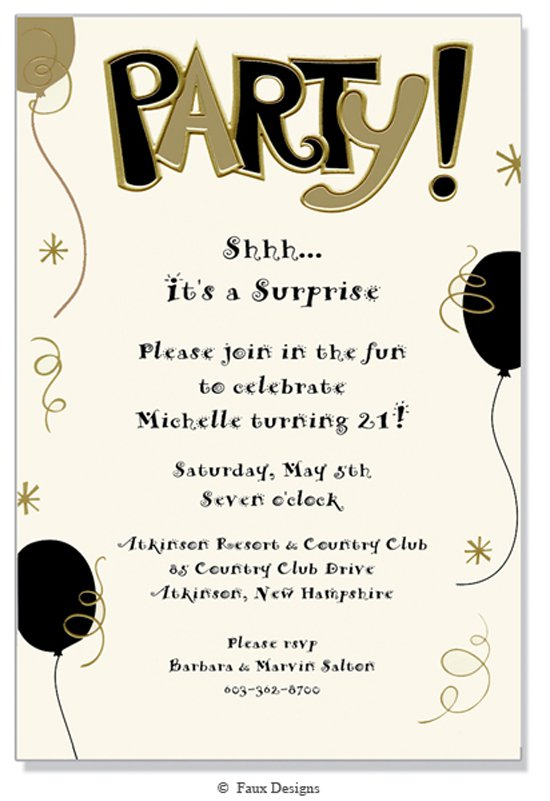 Black And Gold Invitations Blank